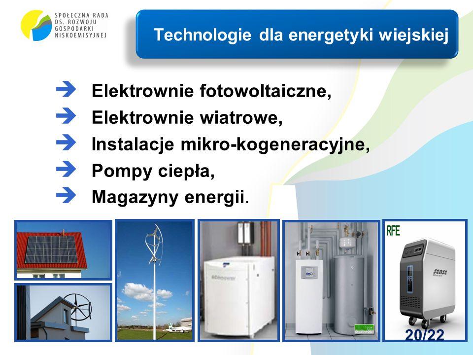  Elektrownie fotowoltaiczne,  Elektrownie wiatrowe,  Instalacje mikro-kogeneracyjne,  Pompy ciepła,  Magazyny energii. Technologie dla energetyki