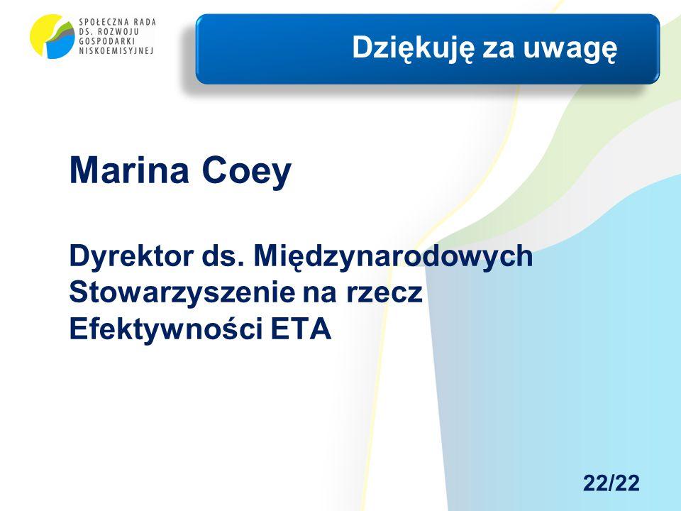 Marina Coey Dyrektor ds. Międzynarodowych Stowarzyszenie na rzecz Efektywności ETA Dziękuję za uwagę 22/22