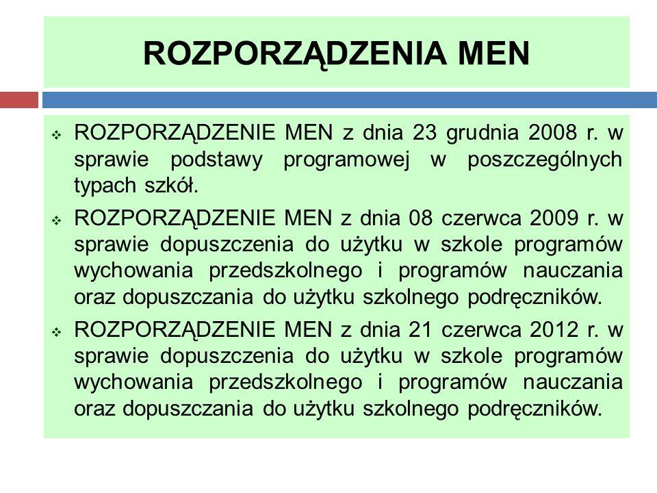 ROZPORZĄDZENIA MEN  ROZPORZĄDZENIE MEN z dnia 23 grudnia 2008 r. w sprawie podstawy programowej w poszczególnych typach szkół.  ROZPORZĄDZENIE MEN z
