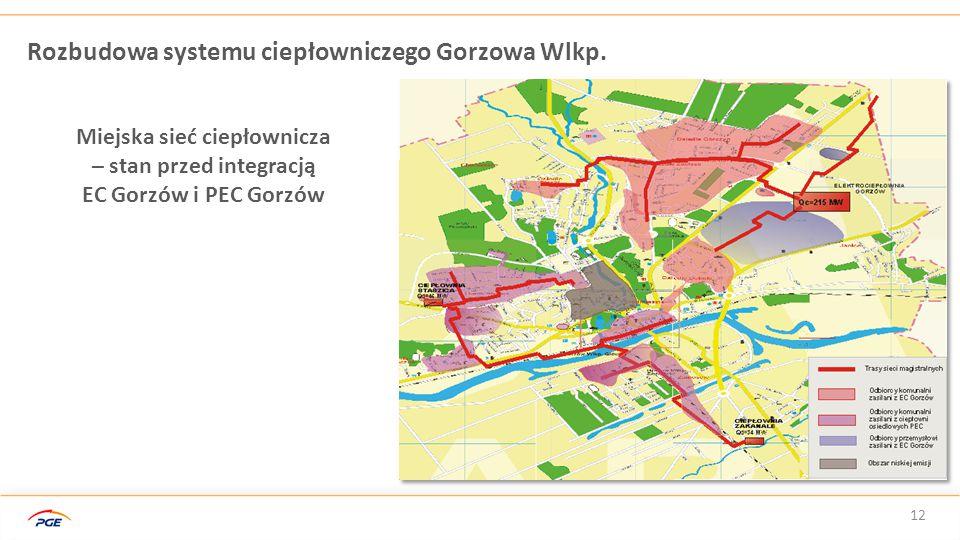 12 Rozbudowa systemu ciepłowniczego Gorzowa Wlkp. Miejska sieć ciepłownicza – stan przed integracją EC Gorzów i PEC Gorzów