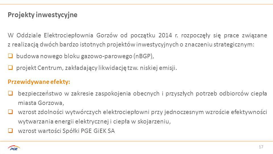 17 Projekty inwestycyjne W Oddziale Elektrociepłownia Gorzów od początku 2014 r. rozpoczęły się prace związane z realizacją dwóch bardzo istotnych pro