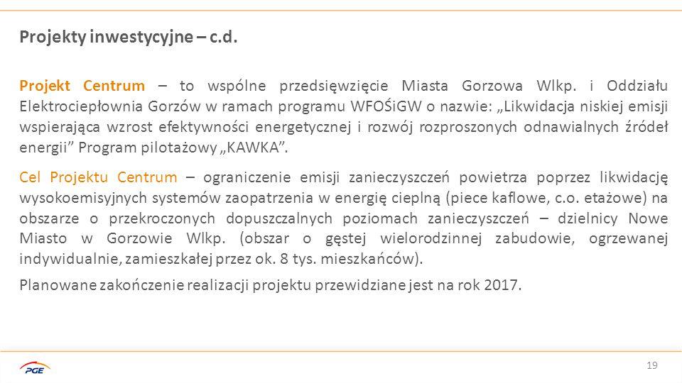 19 Projekty inwestycyjne – c.d. Projekt Centrum – to wspólne przedsięwzięcie Miasta Gorzowa Wlkp. i Oddziału Elektrociepłownia Gorzów w ramach program