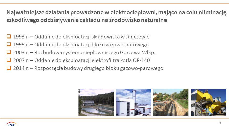 9 Najważniejsze działania prowadzone w elektrociepłowni, mające na celu eliminację szkodliwego oddziaływania zakładu na środowisko naturalne  1993 r.