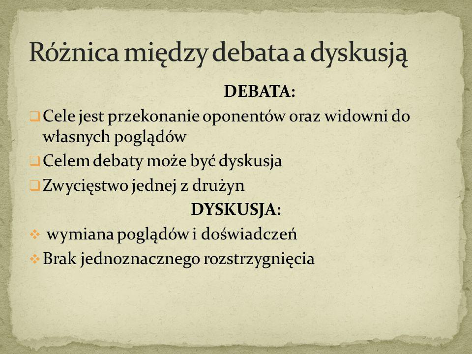 DEBATA:  Cele jest przekonanie oponentów oraz widowni do własnych poglądów  Celem debaty może być dyskusja  Zwycięstwo jednej z drużyn DYSKUSJA: 
