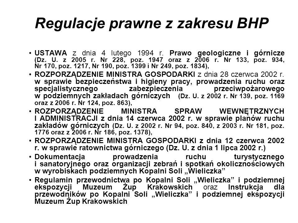 Regulacje prawne z zakresu BHP USTAWA z dnia 4 lutego 1994 r. Prawo geologiczne i górnicze (Dz. U. z 2005 r. Nr 228, poz. 1947 oraz z 2006 r. Nr 133,
