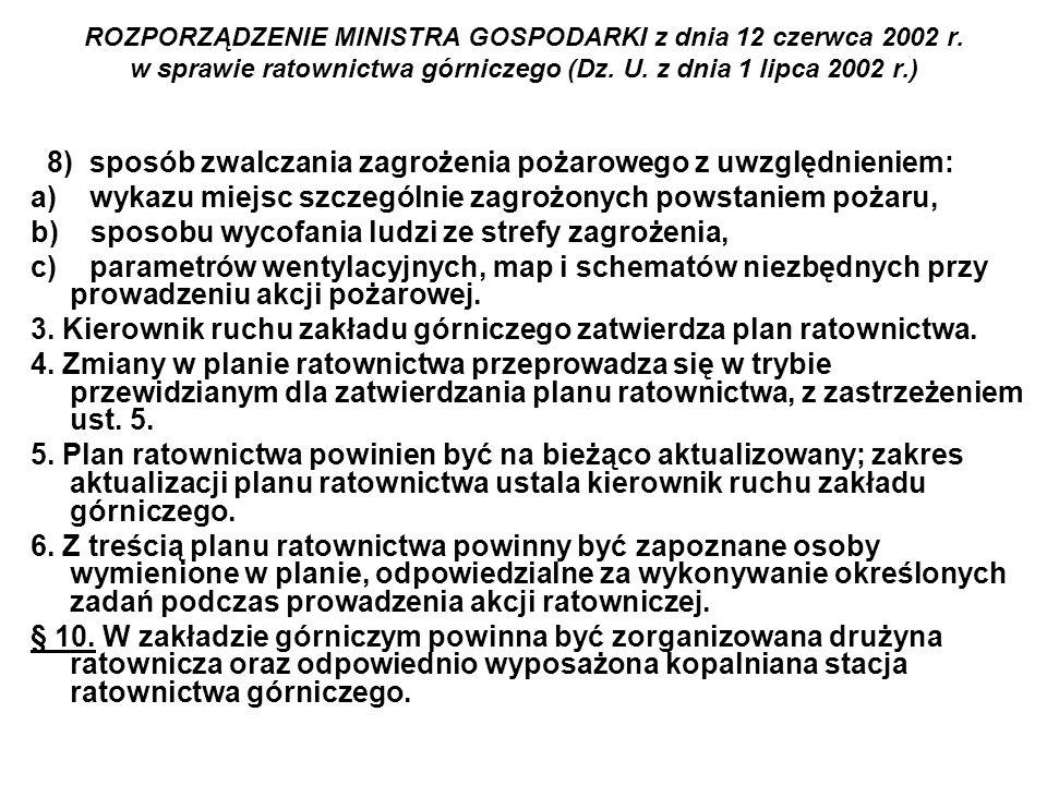 ROZPORZĄDZENIE MINISTRA GOSPODARKI z dnia 12 czerwca 2002 r. w sprawie ratownictwa górniczego (Dz. U. z dnia 1 lipca 2002 r.) 8) sposób zwalczania zag