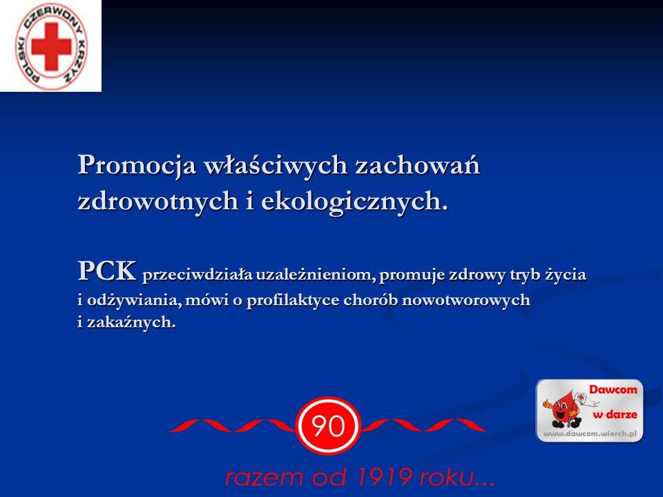 Opieka i pomoc socjalna. PCK działa na rzecz osób najbardziej potrzebujących, ubogich, chorych, niepełnosprawnych oraz mniejszości narodowych. Prowadz