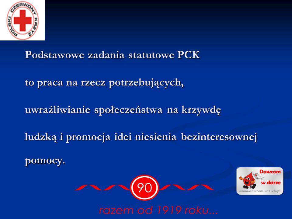 Podstawowe zadania statutowe PCK to praca na rzecz potrzebujących, uwrażliwianie społeczeństwa na krzywdę ludzką i promocja idei niesienia bezinteresownej pomocy.