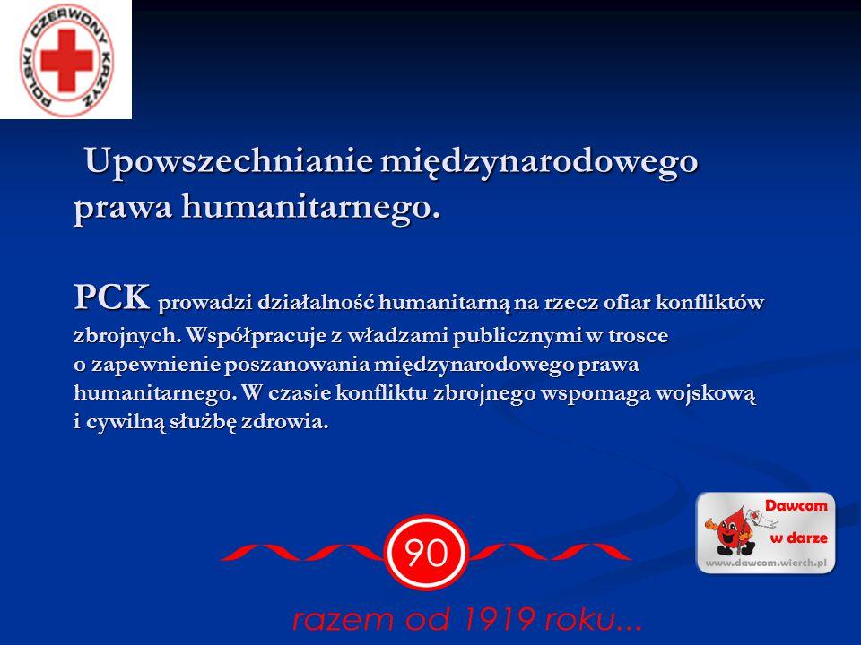 Podstawowe zadania statutowe PCK to praca na rzecz potrzebujących, uwrażliwianie społeczeństwa na krzywdę ludzką i promocja idei niesienia bezintereso