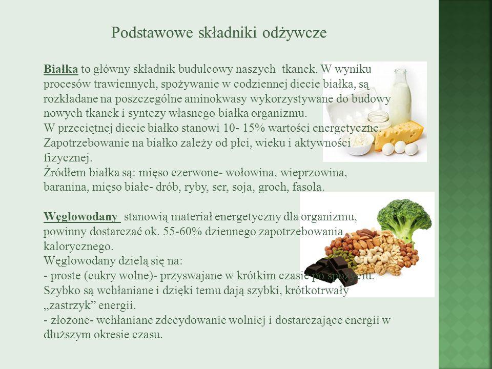 Podstawowe składniki odżywcze Białka to główny składnik budulcowy naszych tkanek. W wyniku procesów trawiennych, spożywanie w codziennej diecie białka