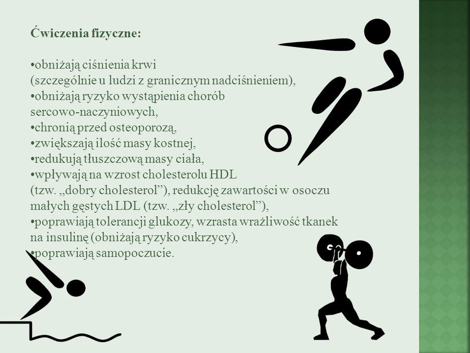 Ćwiczenia fizyczne: obniżają ciśnienia krwi (szczególnie u ludzi z granicznym nadciśnieniem), obniżają ryzyko wystąpienia chorób sercowo-naczyniowych,