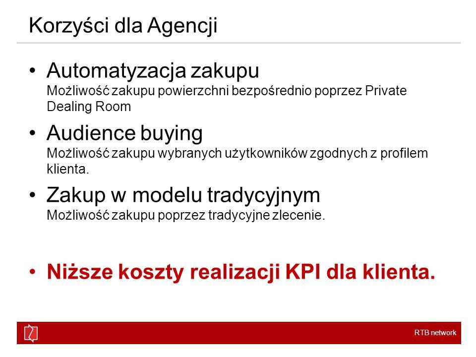 RTB network Korzyści dla Agencji Automatyzacja zakupu Możliwość zakupu powierzchni bezpośrednio poprzez Private Dealing Room Audience buying Możliwość zakupu wybranych użytkowników zgodnych z profilem klienta.