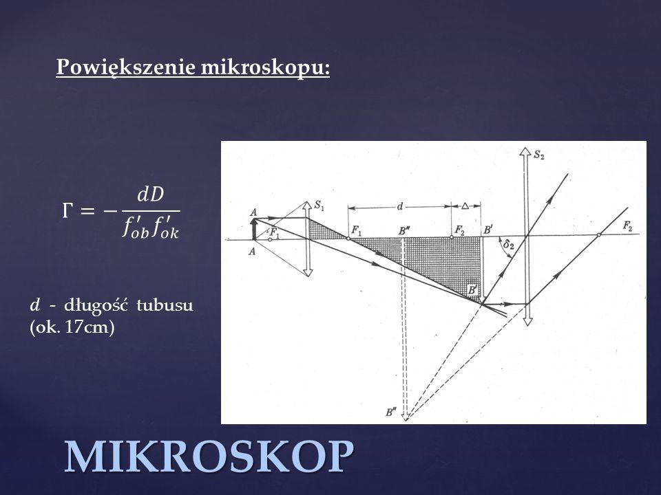 MIKROSKOP Powiększenie mikroskopu: