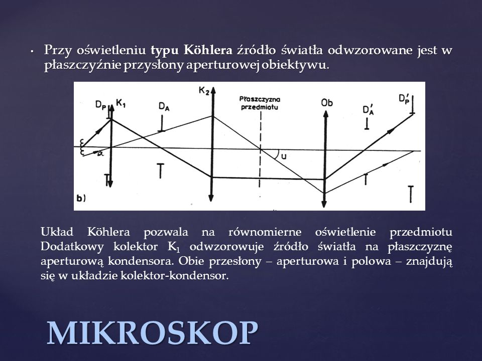 MIKROSKOP Przy oświetleniu typu Köhlera źródło światła odwzorowane jest w płaszczyźnie przysłony aperturowej obiektywu. Przy oświetleniu typu Köhlera