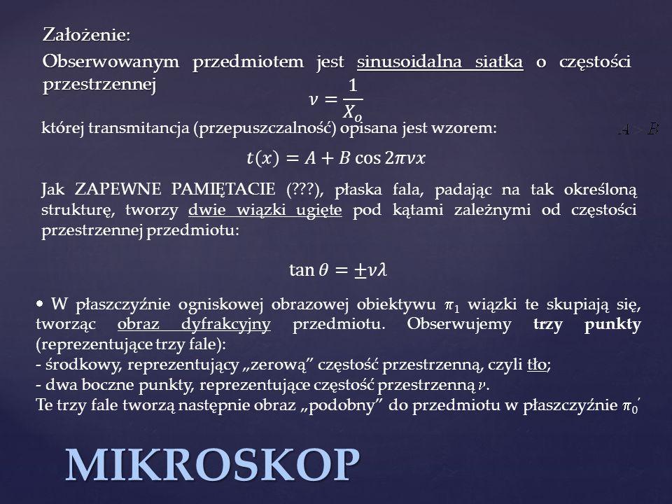 MIKROSKOP Założenie: Obserwowanym przedmiotem jest sinusoidalna siatka o częstości przestrzennej której transmitancja (przepuszczalność) opisana jest