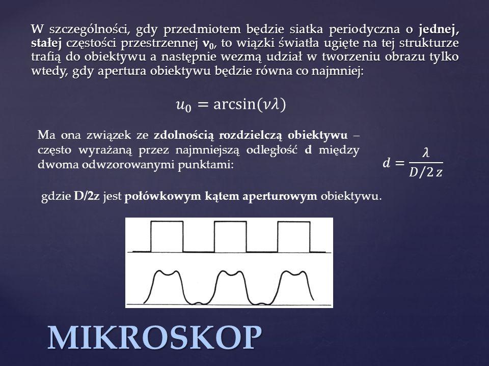 MIKROSKOP W szczególności, gdy przedmiotem będzie siatka periodyczna o jednej, stałej częstości przestrzennej 0, to wiązki światła ugięte na tej struk