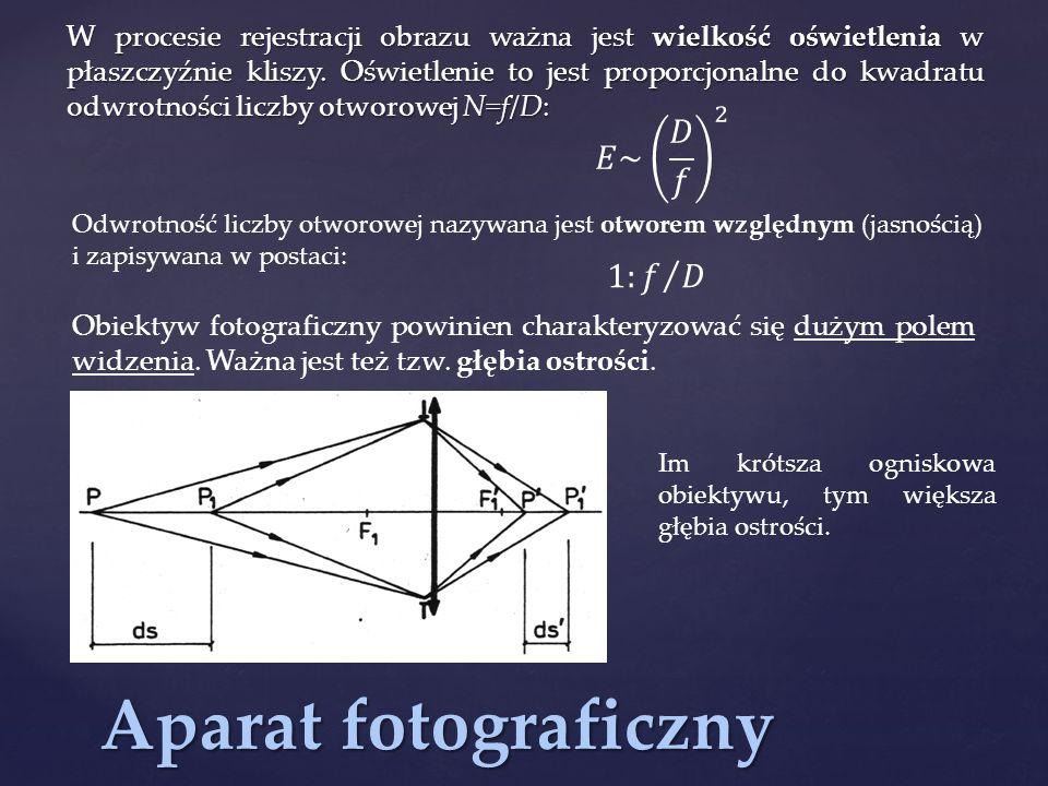 Aparat fotograficzny W procesie rejestracji obrazu ważna jest wielkość oświetlenia w płaszczyźnie kliszy. Oświetlenie to jest proporcjonalne do kwadra