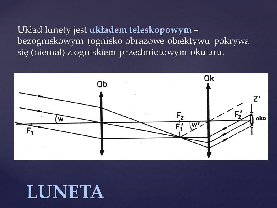 Układ lunety jest układem teleskopowym = bezogniskowym (ognisko obrazowe obiektywu pokrywa się (niemal) z ogniskiem przedmiotowym okularu. LUNETA