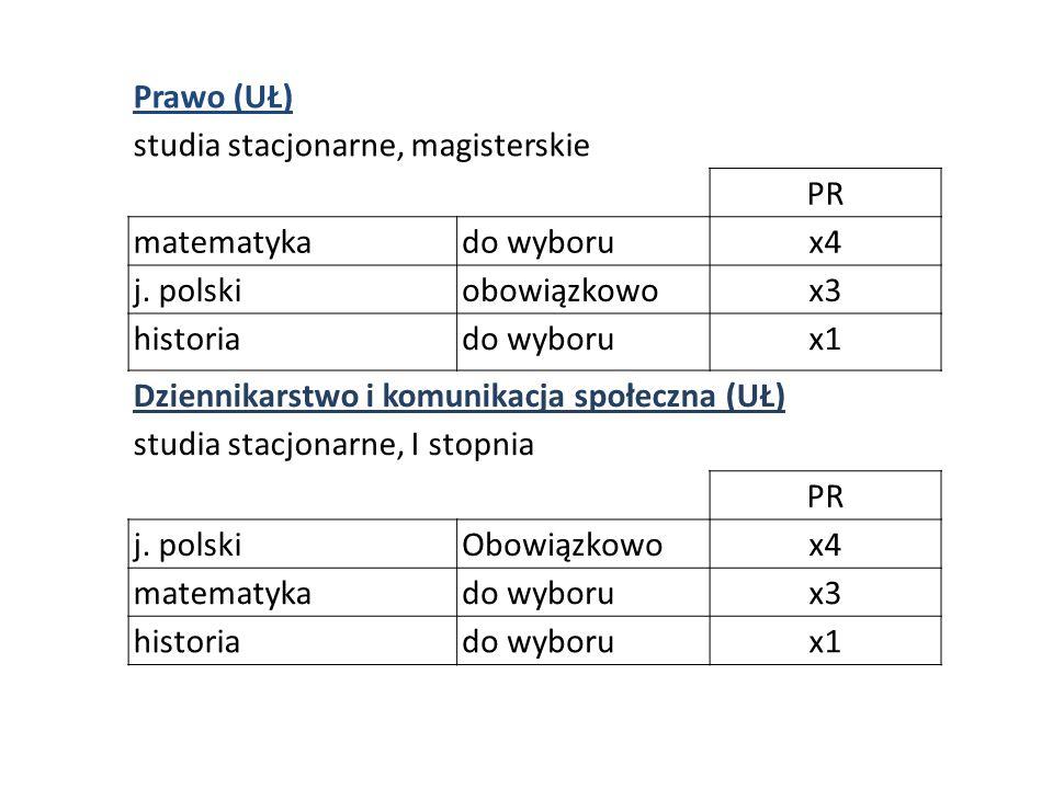 Prawo (UŁ) studia stacjonarne, magisterskie PR matematykado wyborux4 j.