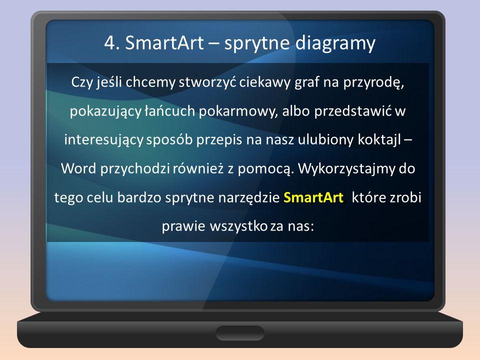 4. SmartArt – sprytne diagramy SmartArt Czy jeśli chcemy stworzyć ciekawy graf na przyrodę, pokazujący łańcuch pokarmowy, albo przedstawić w interesuj