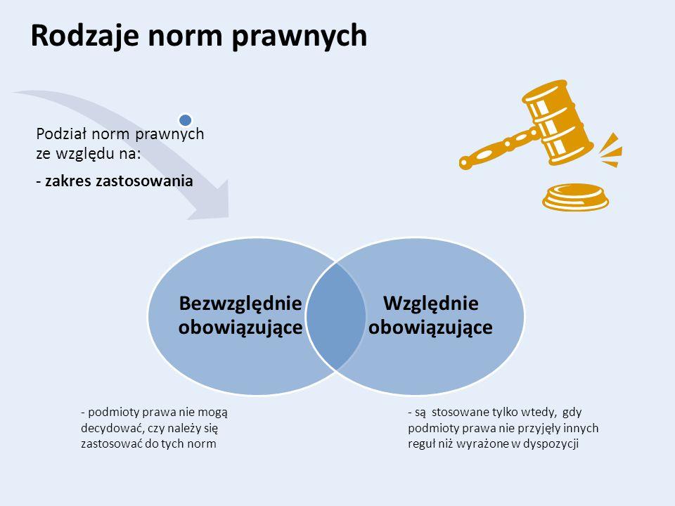 Rodzaje norm prawnych Bezwzględnie obowiązujące Względnie obowiązujące Podział norm prawnych ze względu na: - zakres zastosowania - są stosowane tylko