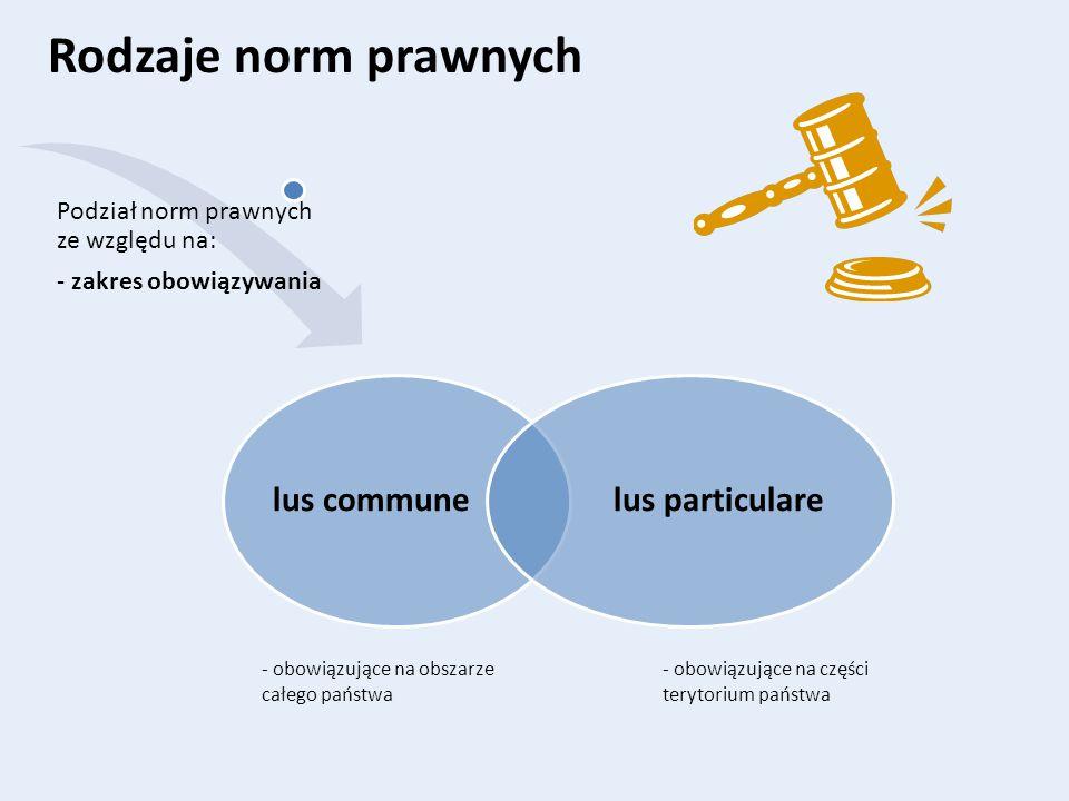 Rodzaje norm prawnych lus communelus particulare Podział norm prawnych ze względu na: - zakres obowiązywania - obowiązujące na części terytorium państ