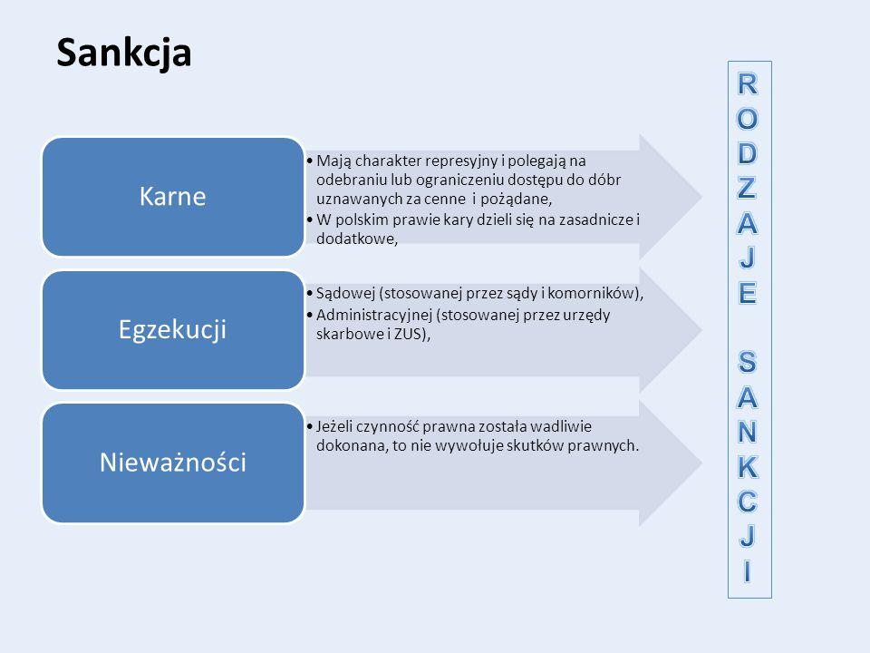 Sankcja Mają charakter represyjny i polegają na odebraniu lub ograniczeniu dostępu do dóbr uznawanych za cenne i pożądane, W polskim prawie kary dziel