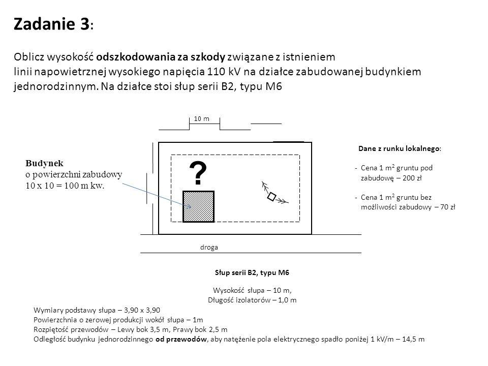 Zadanie 3 : Oblicz wysokość odszkodowania za szkody związane z istnieniem linii napowietrznej wysokiego napięcia 110 kV na działce zabudowanej budynkiem jednorodzinnym.