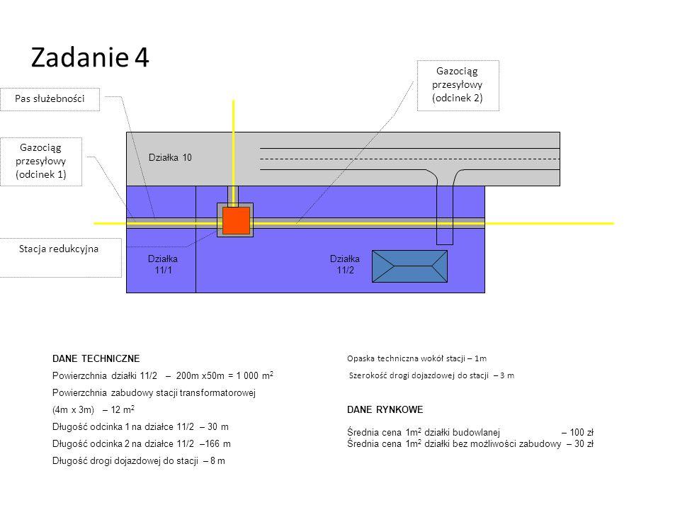 Zadanie 4 Pas służebności Gazociąg przesyłowy (odcinek 1) Stacja redukcyjna Działka 10 Działka 11/2 Działka 11/1 DANE TECHNICZNE Powierzchnia działki 11/2 – 200m x50m = 1 000 m 2 Powierzchnia zabudowy stacji transformatorowej (4m x 3m) – 12 m 2 Długość odcinka 1 na działce 11/2 – 30 m Długość odcinka 2 na działce 11/2 –166 m Długość drogi dojazdowej do stacji – 8 m DANE RYNKOWE Średnia cena 1m 2 działki budowlanej – 100 zł Średnia cena 1m 2 działki bez możliwości zabudowy – 30 zł Opaska techniczna wokół stacji – 1m Szerokość drogi dojazdowej do stacji – 3 m Gazociąg przesyłowy (odcinek 2)