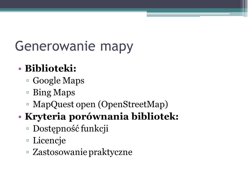 Generowanie mapy Biblioteki: ▫Google Maps ▫Bing Maps ▫MapQuest open (OpenStreetMap) Kryteria porównania bibliotek: ▫Dostępność funkcji ▫Licencje ▫Zast