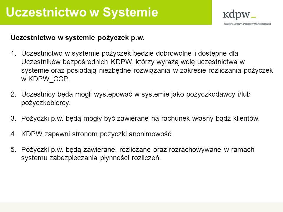 Uczestnictwo w Systemie Uczestnictwo w systemie pożyczek p.w.