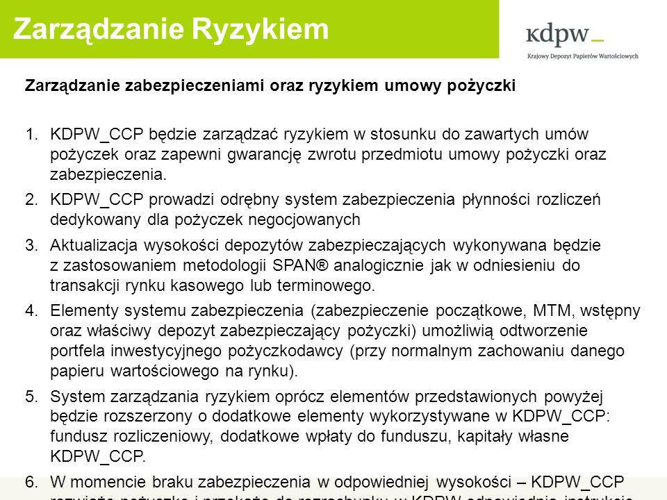 Zarządzanie Ryzykiem Zarządzanie zabezpieczeniami oraz ryzykiem umowy pożyczki 1.KDPW_CCP będzie zarządzać ryzykiem w stosunku do zawartych umów pożyczek oraz zapewni gwarancję zwrotu przedmiotu umowy pożyczki oraz zabezpieczenia.