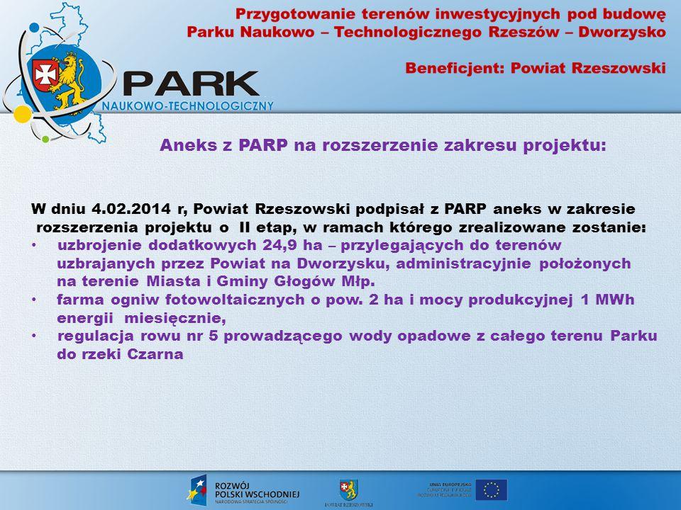 Aneks z PARP na rozszerzenie zakresu projektu: W dniu 4.02.2014 r, Powiat Rzeszowski podpisał z PARP aneks w zakresie rozszerzenia projektu o II etap,
