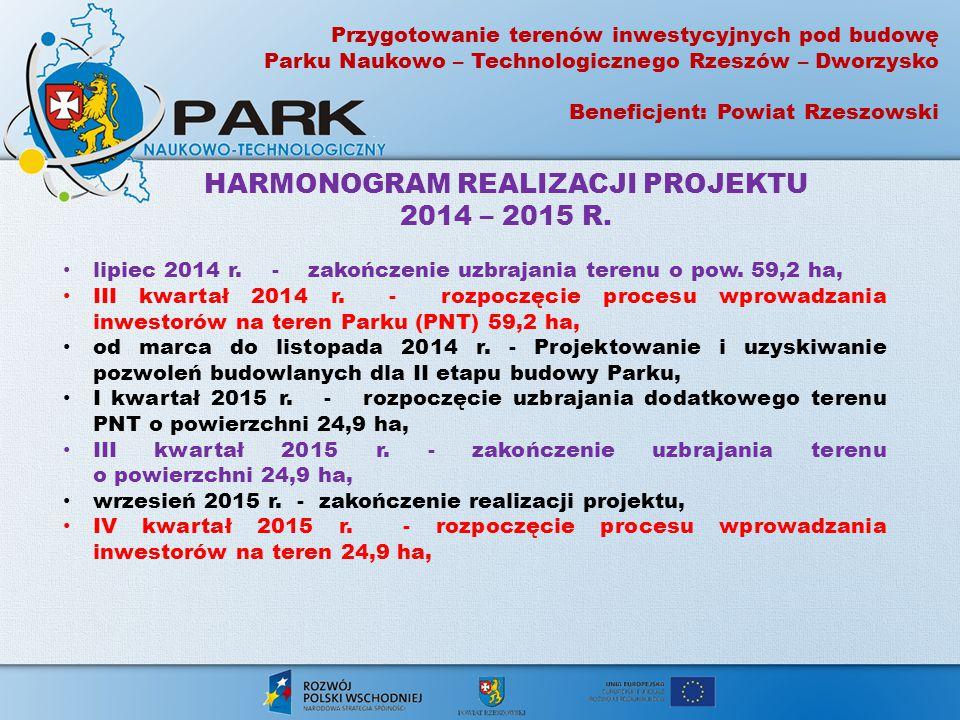 lipiec 2014 r. - zakończenie uzbrajania terenu o pow. 59,2 ha, III kwartał 2014 r. - rozpoczęcie procesu wprowadzania inwestorów na teren Parku (PNT)