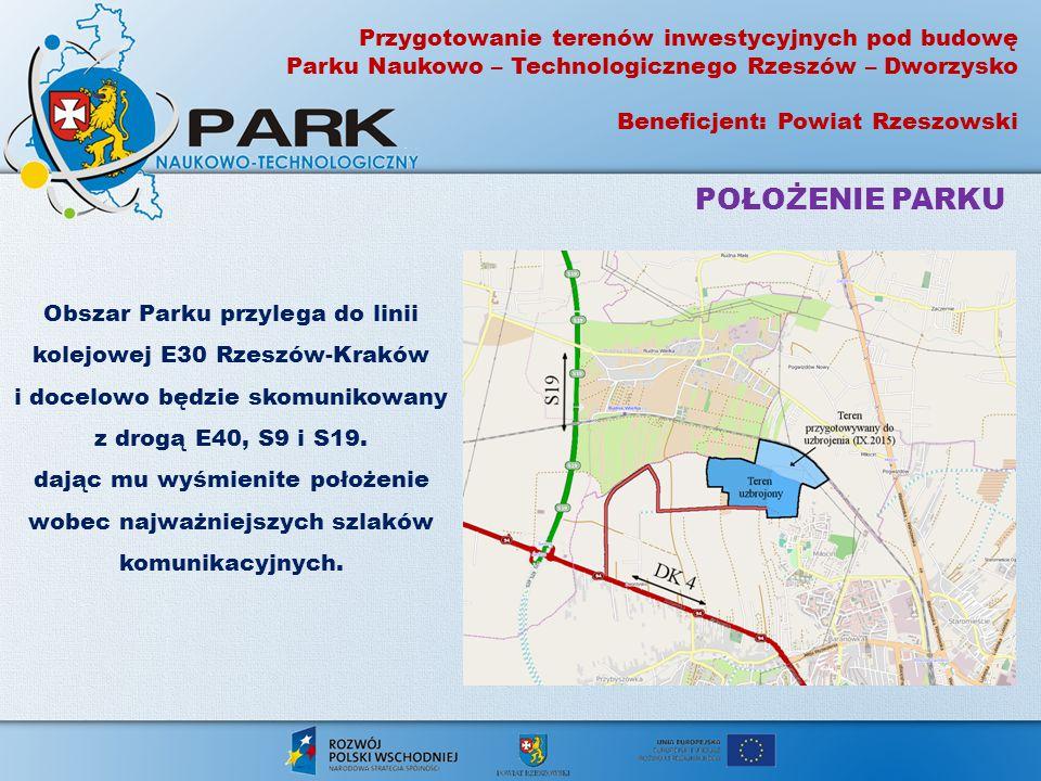 Obszar Parku przylega do linii kolejowej E30 Rzeszów-Kraków i docelowo będzie skomunikowany z drogą E40, S9 i S19. dając mu wyśmienite położenie wobec