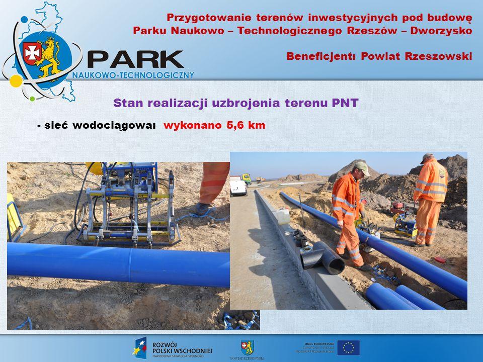 Przygotowanie terenów inwestycyjnych pod budowę Parku Naukowo – Technologicznego Rzeszów – Dworzysko Beneficjent: Powiat Rzeszowski Stan realizacji uz