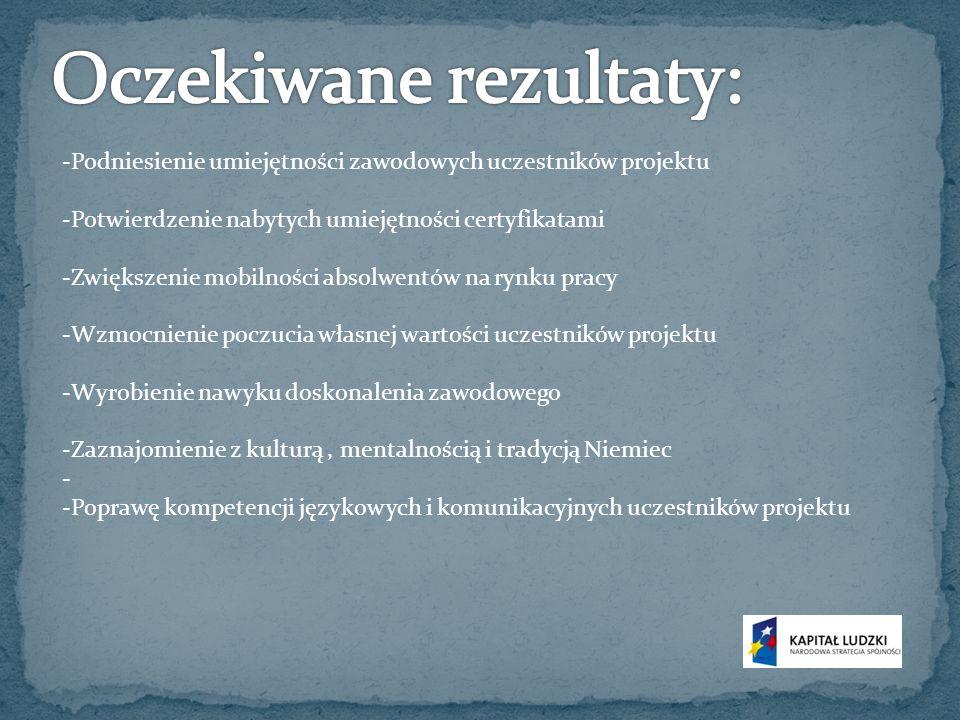 -Podniesienie umiejętności zawodowych uczestników projektu -Potwierdzenie nabytych umiejętności certyfikatami -Zwiększenie mobilności absolwentów na rynku pracy -Wzmocnienie poczucia własnej wartości uczestników projektu -Wyrobienie nawyku doskonalenia zawodowego -Zaznajomienie z kulturą, mentalnością i tradycją Niemiec - -Poprawę kompetencji językowych i komunikacyjnych uczestników projektu