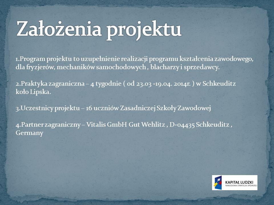 1.Trening kompetencji zawodowych pod okiem niemieckich profesjonalistów z wybranej branży zawodowej.