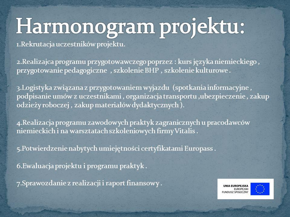 1.Rekrutacja uczestników projektu. 2.Realizajca programu przygotowawczego poprzez : kurs języka niemieckiego, przygotowanie pedagogiczne, szkolenie BH