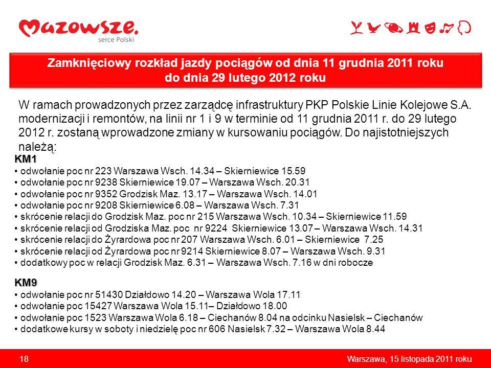 18Warszawa, 15 listopada 2011 roku Zamknięciowy rozkład jazdy pociągów od dnia 11 grudnia 2011 roku do dnia 29 lutego 2012 roku W ramach prowadzonych