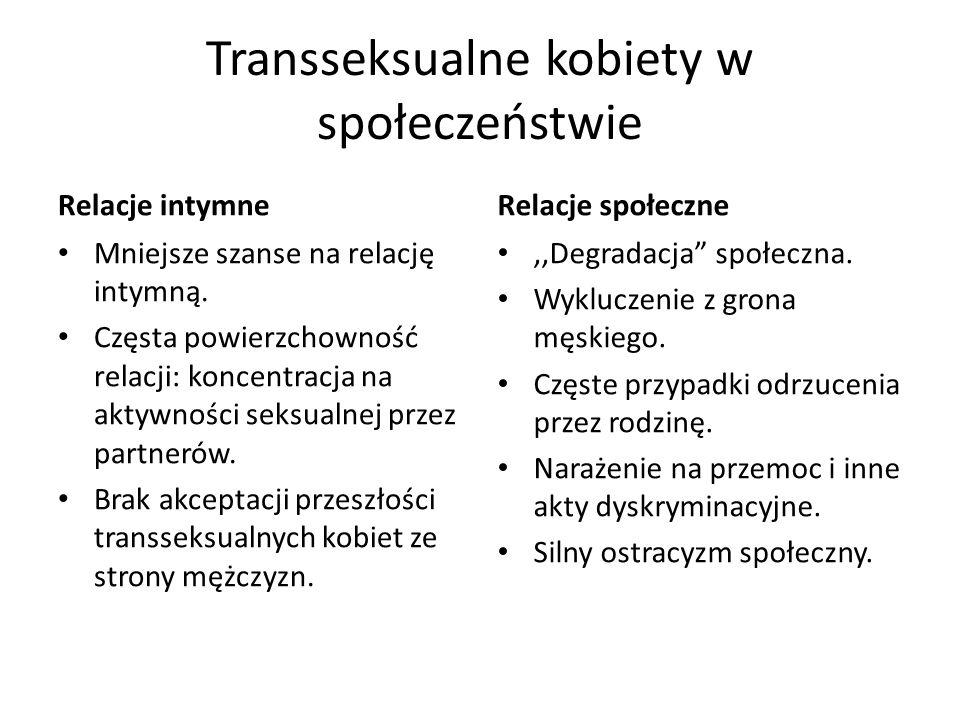 Transseksualne kobiety w społeczeństwie Relacje intymne Mniejsze szanse na relację intymną.