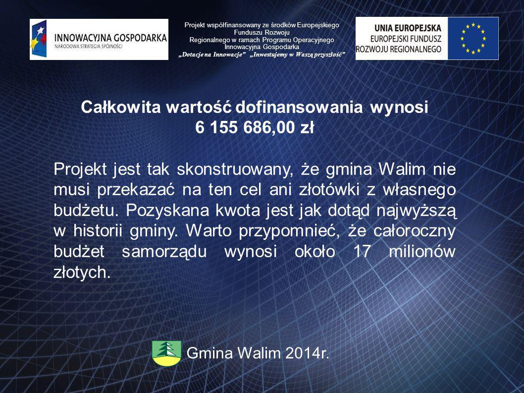 Całkowita wartość dofinansowania wynosi 6 155 686,00 zł Projekt jest tak skonstruowany, że gmina Walim nie musi przekazać na ten cel ani złotówki z własnego budżetu.