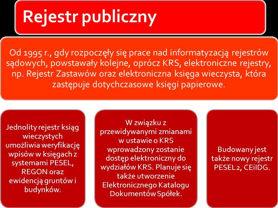 Rejestr publiczny Od 1995 r., gdy rozpoczęły się prace nad informatyzacją rejestrów sądowych, powstawały kolejne, oprócz KRS, elektroniczne rejestry,