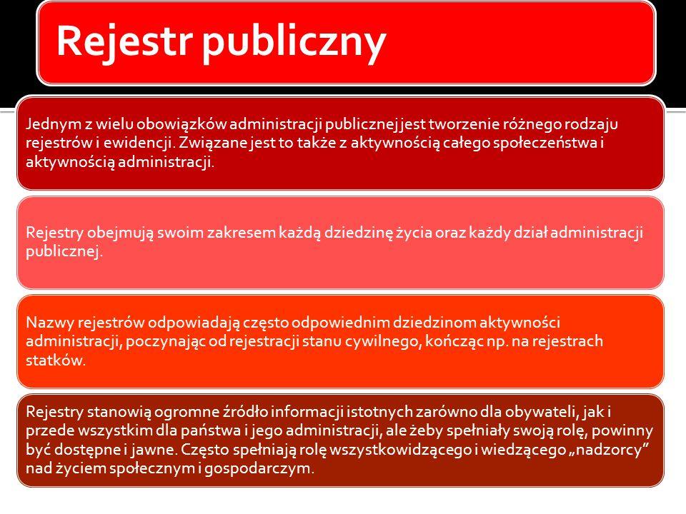 Rejestr publiczny Jednym z wielu obowiązków administracji publicznej jest tworzenie różnego rodzaju rejestrów i ewidencji. Związane jest to także z ak