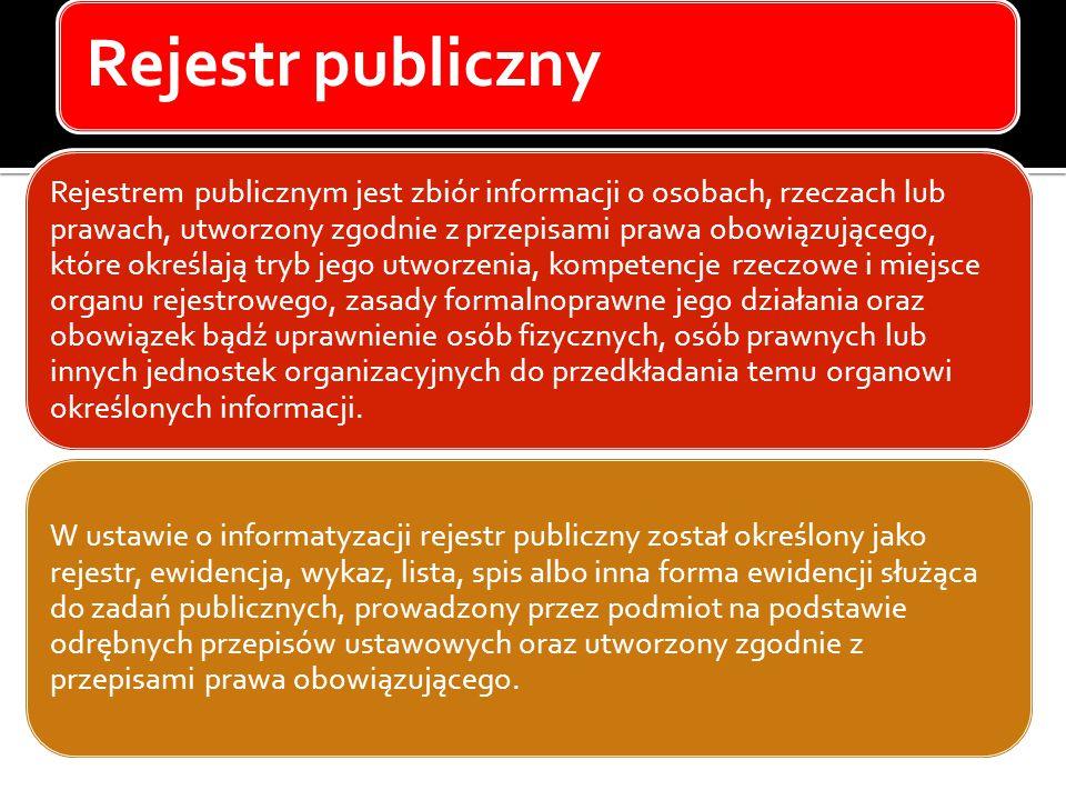 Rejestr publiczny Rejestrem publicznym jest zbiór informacji o osobach, rzeczach lub prawach, utworzony zgodnie z przepisami prawa obowiązującego, któ