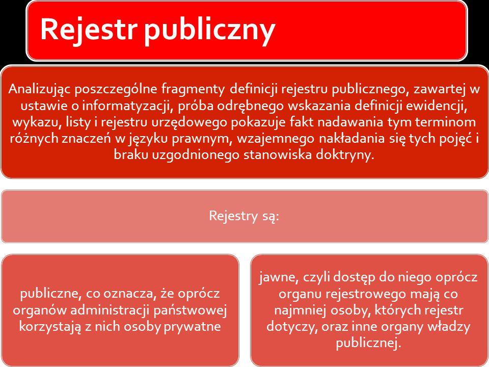 Rejestr publiczny Analizując poszczególne fragmenty definicji rejestru publicznego, zawartej w ustawie o informatyzacji, próba odrębnego wskazania def