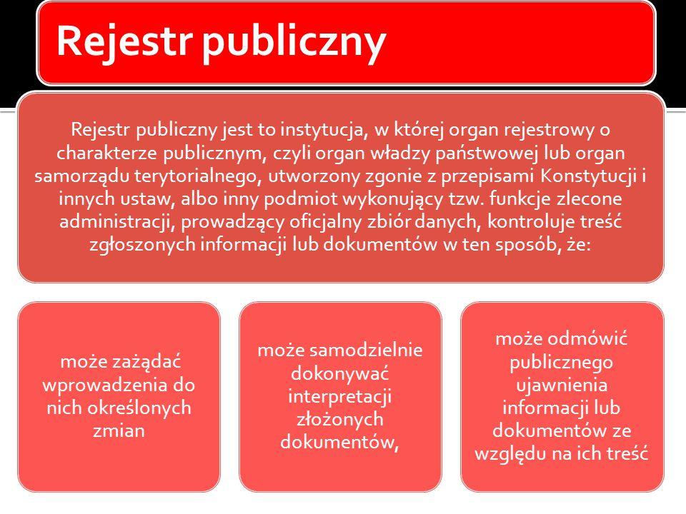 Rejestr publiczny Rejestr publiczny jest to instytucja, w której organ rejestrowy o charakterze publicznym, czyli organ władzy państwowej lub organ sa