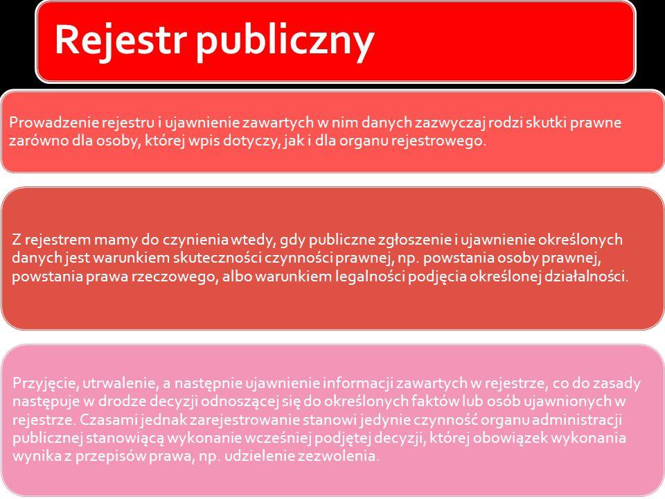 Rejestr publiczny Prowadzenie rejestru i ujawnienie zawartych w nim danych zazwyczaj rodzi skutki prawne zarówno dla osoby, której wpis dotyczy, jak i