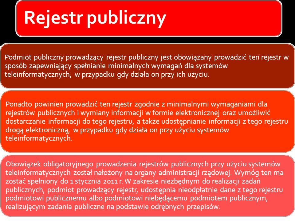 Rejestr publiczny Podmiot publiczny prowadzący rejestr publiczny jest obowiązany prowadzić ten rejestr w sposób zapewniający spełnianie minimalnych wymagań dla systemów teleinformatycznych, w przypadku gdy działa on przy ich użyciu.