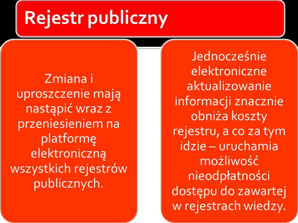 Rejestr publiczny Zmiana i uproszczenie mają nastąpić wraz z przeniesieniem na platformę elektroniczną wszystkich rejestrów publicznych. Jednocześnie